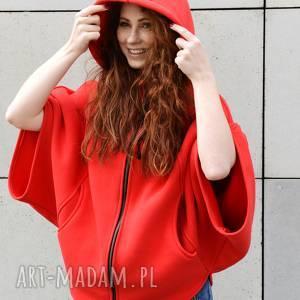 ponczo czerwony kapturek bluza damska z kapturem, luźne