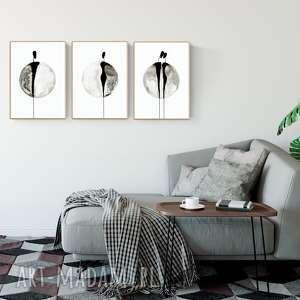 zestaw 3 obrazów malowanych ręcznie 30 x 40 cm , minimalizm, grafiki-do-salonu