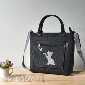 grafitowa filcowa torebka z kotem i motylkiem, kot, kotek, motyl, filc, elegancka