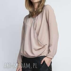 Bluzka, BLU125 beż, kobieca, klasyczna, delikatna, kopertowa, elegancka, koszula
