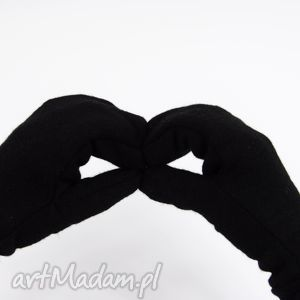 wełniane rękawiczki mozga - czarne - welna, zimowe, jednopalczatki, ciepłe