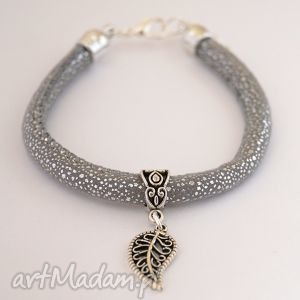 bransoleta silver dots leaf, rzemień, liść, listek, ażurowy, ażury biżuteria