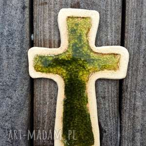 Krzyżyk na ścianę ceramika i szkło 11 - ,krzyż,krzyżyk,szamot,szkło,fusing,ceramika,