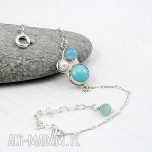 kalejdoskop błękitny z perłą, delikatna, błękitna, kobieca, perła, romantyczna