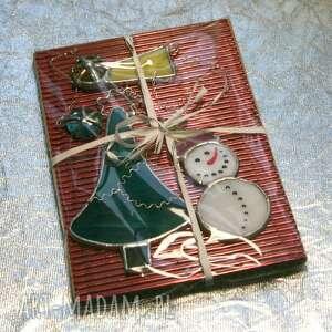 witraże witraż świąteczny bałwanek i gwiazda betlejemska, choinka, święta