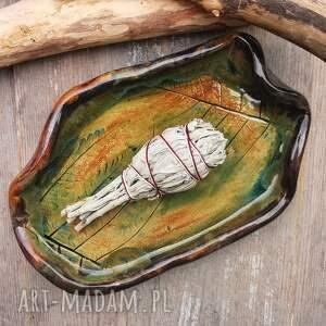 ceramika ceramiczny talerz, paproć c215, paproć, santo palo