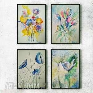 Kwiaty - cztery akwarele każda formatu 18 24 cm paulina lebida