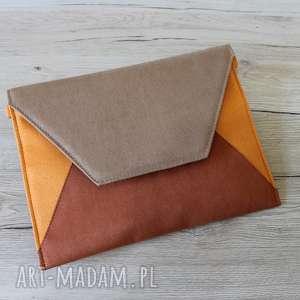 kopertówka - brąz, rudy i pomarańcz, elegancka, nowoczesna, wesele, sylwester