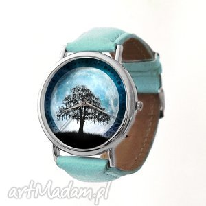 Księżycowe drzewo - Skórzany zegarek z dużą tarczą, zegarek, grafiką, księżycowe
