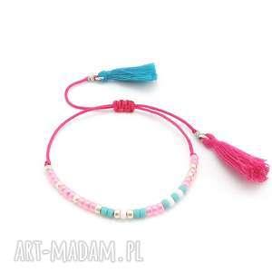 Bransoletka Minimal - Candy Floss, bransoletka, minimal, delikatna, boho, chwosty