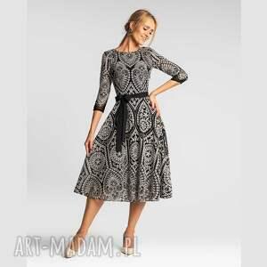 mable total midi donatella czarno-biała, elegancka sukienka, sukienka