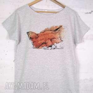 LIS koszulka bawełniana szara L/XL z nadrukiem, koszulka, bluzka, szara, nadruk, lis