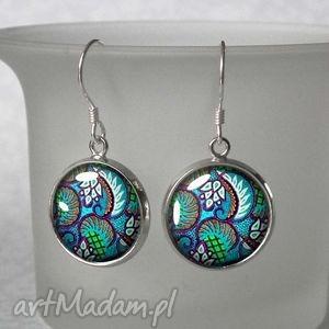 TURQUE małe krótkie kolczyki wiszące turkusowy wzorek, ornament, orient, delikatne