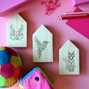 3 x domki drewniane, domki, domek, drewna, zwierzęta, lis