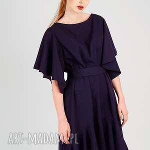wełniana elegancka sukienka, welniana, elegancka, klasyczna, rozkloszowana, rękawy