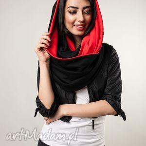 komin xxl dwustronny czarno-czerwony, gruby, ciepły,
