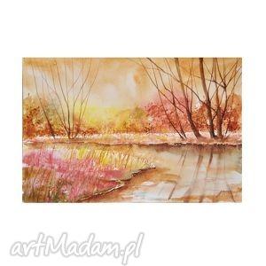 pejzaż nad rzeką 3, akwarela, obraz, pejzaż, rzeka, drzewa