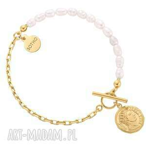 złota bransoletka z naturalnych pereł zdobiona monetą - łączona