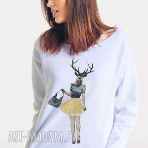 deer female - bluza damska oversize biała, oversize, bluza, moda, damska, projektant