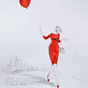 dziś prowadzi mnie czerwony balonik akwarela z dodatkiem piórka artystki