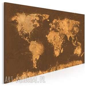 obraz na płótnie - mapa beże brązy 120x80 cm (06305)