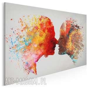 obraz na płótnie - pocałunek para kolorowy 120x80 cm 73401, pocałunek