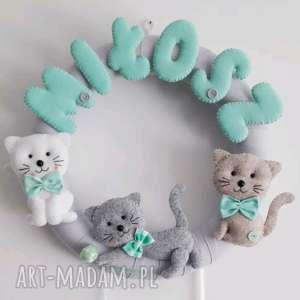 spersonalizowana dekoracja z imieniem dziecka kotki - kot dziecko, prezent, babyshower