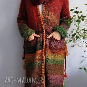 święta, multikolor sweter, kardigan, boho, nadrutach, wełniany