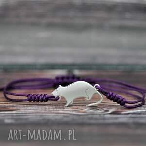 szczurek - bransoletka, szczur, szczurek, bransoletka sznurkowa