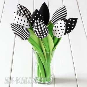 tulipany czarno-biały bawełniany bukiet, tulipany, prezent, kwiaty, bukiet