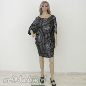 lalu sukienki sukienka cudak czarno-srebrna, sukienka, dzianina, kimono ubrania