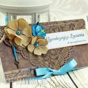 kopertówka uniwersalna - turkusy i brązy, ślub, urodziny, imieniny, kartka