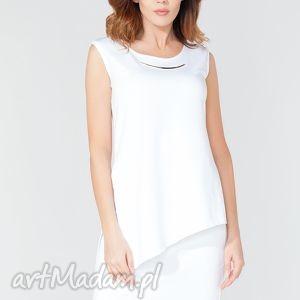 Tunika t116 kolor biały - tessita bluzki elegancka, asymetryczna