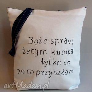 Bawełniana torba, bawełniana, lninana, eko, napisy, zakupy