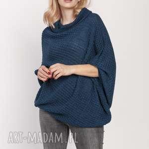luźny sweter, swe205 morski mkm, luźny, golf, jesień, do pracy, doszkoły