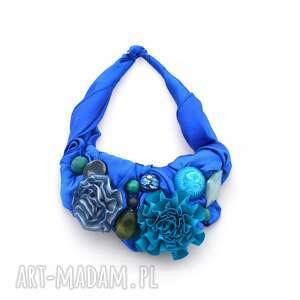 indygo naszyjnik handmade, naszyjnik, kolia, niebieski, indygo, kobalt, szafir