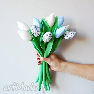 Bawełniane tulipany, bawełniane, kwiatki, kwiaty, szyte, materiałowe