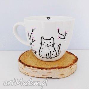 filiżanka z kotkiem - ,filiżanka,kot,kotek,cat,simple,biała,