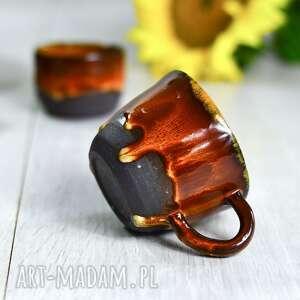 Kubek ceramiczny średni z serii ognista brązowo pomarańczowy 250