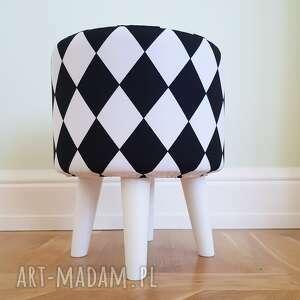 Pufa arlekin - 36 cm białe nogi stożkowe czarna owca store puf