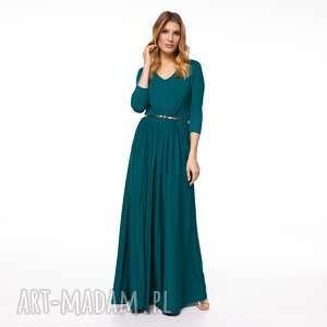 sukienka nastja, dzianinowa, szmaragdowa, jesienna, długa, maxi, elegancka