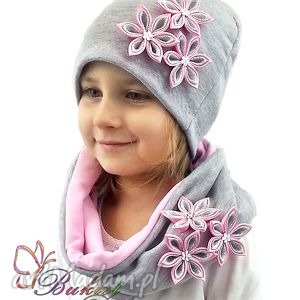 cały komplet - czapka z szalikiem dla dziewczynki zam opaski, czapki