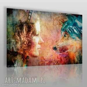 obrazy obraz na płótnie - kobieta wilk 120x80 cm 42201, kobieta, wilk, kolaż