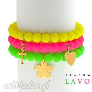 Neon green,yellow,pink & golden pendant. - ,neon,zawieszka,zestaw,bransoletki,
