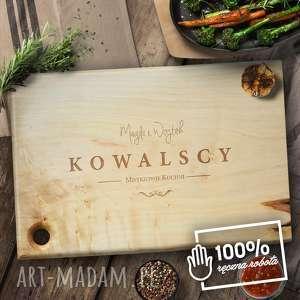 ręcznie robione dom grawerowana deska do krojenia z litego drewna klonowego - mistrzowie kuchni