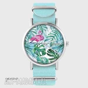 Prezent Zegarek - Flaming, tropikalny- niebieski, nato, palmy, liście, zegarek