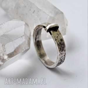 outlander - obrączka srebro, retro vintage, srebro fakturowane
