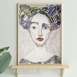 plakat 50x70 - blada, plakat, wydruk, twarz, postać, kobieta, portret
