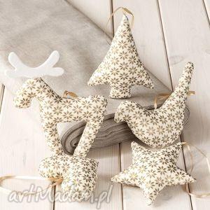 ozdoby świąteczne ecru w złote gwiazdki, 5 szt, święta, zawieszka, ozdoba, dekoracja