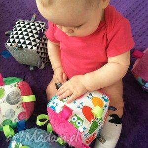 handmade zabawki kostka sensoryczna grzechotka, wzór sowy